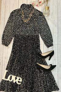 Vestido-de-fiesta-M-amp-S-12-14-16-Negro-mirada-Floral-Saten-Plisado-Midi-cuello-alto-modesto