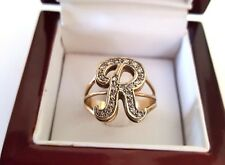 ESTATE  YELLOW & WHITE GOLD DIAMOND  * R * INITIAL RING SIZE 10.5 14KT.