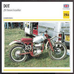 Details about 1964 Dot 250cc Demon Scrambler Villiers-Engine Motorcycle  Photo Spec Sheet Card