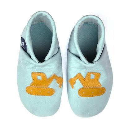 pantau.eu Leder Krabbelschuhe Lauflernschuhe Lederpuschen für Kinder mit Bagger
