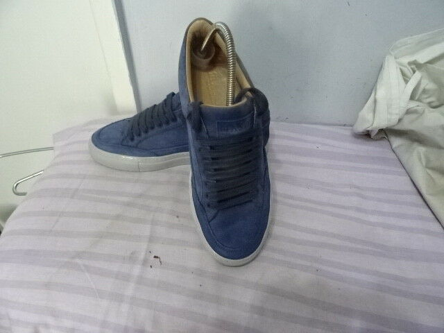 MENS MASON MADE IN ITALY blueE SUEDELEATHER LACE-UP SHOES