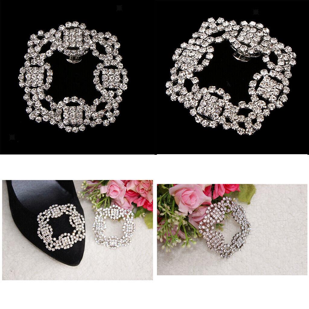 2Pcs Fashion Square Rhinestones Crystal Decorative DIY Wedding Shoe Clips