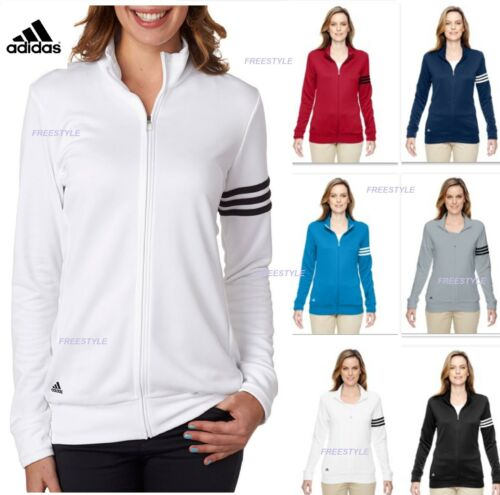 3 Jakke Ladies Zip Adidas A191 Collar Mock Fuld Sale Stripes Polyester Pullover qpwxICzw