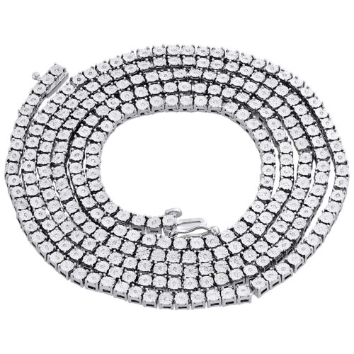 """Mens 1 Row Necklace Genuine Diamond Link Choker Chain 18/"""" to 30/"""" Sterling Silver"""