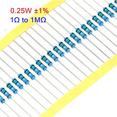 100PCS 1//4W 0.25W Metal Film Resistor ±1/% 0Ω to 10MΩ Full Range of Values