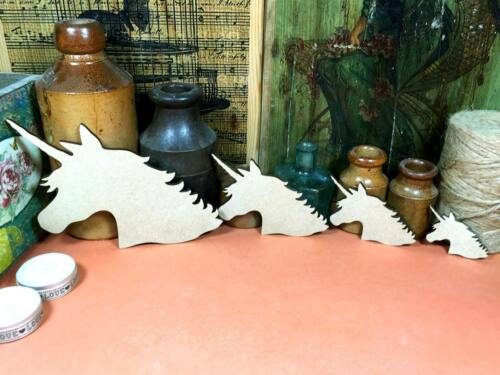 x4 WOODEN UNICORN HEAD SHAPES MDF 15cm to 5cm fairytale wood shape craft gift