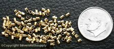 14kt Gold plated 2x1mm tube crimp beads 100pcs string necklaces bracelets fps034