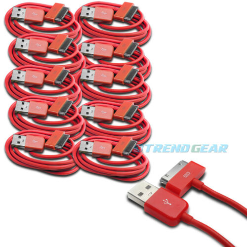 10 PCS USB SYNC DATA POWER CHARGER CABLE NEW IPAD IPHONE IPOD CLASSIC TOUCH RED