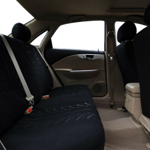 9 Piezas Completo Negro Color Tela Coche Seat Covers Set Universal Lavable