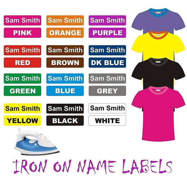 Name Labels Iron On 42pcs 30x09mm Clothing School Day Care Tag Clothes Aged  Bag
