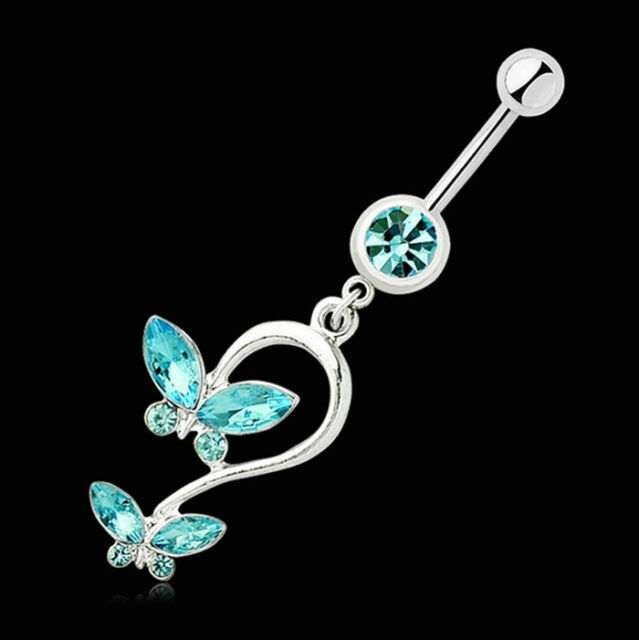 Butterfly Crystal Dangle Button Barbell Bar Belly Navel Ring Body Piercing JP