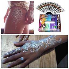 2 X SILVER SPARKLY HENNA DECORATIVE  Glitter Gel Cone Tattoo Body Art Arabic 25g