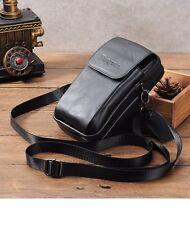 Genuine Leather Men Cellphone Pouch Bag Holster Case Belt Waist Crossbody Pack