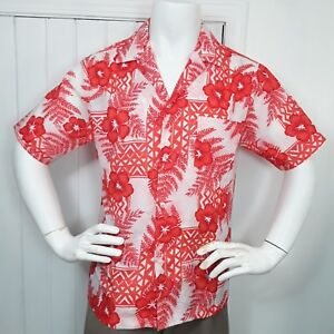 b8233d02 Vintage 70s Hilo Hattie Hawaiian Shirt M Floral Polyester Silky ...