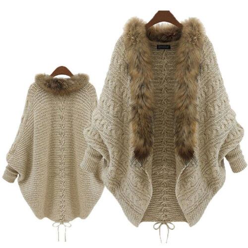 Ladies Batwing Knit Sleeve Loose Fur Collar Sweater Cardigan Outwear Jacket Coat