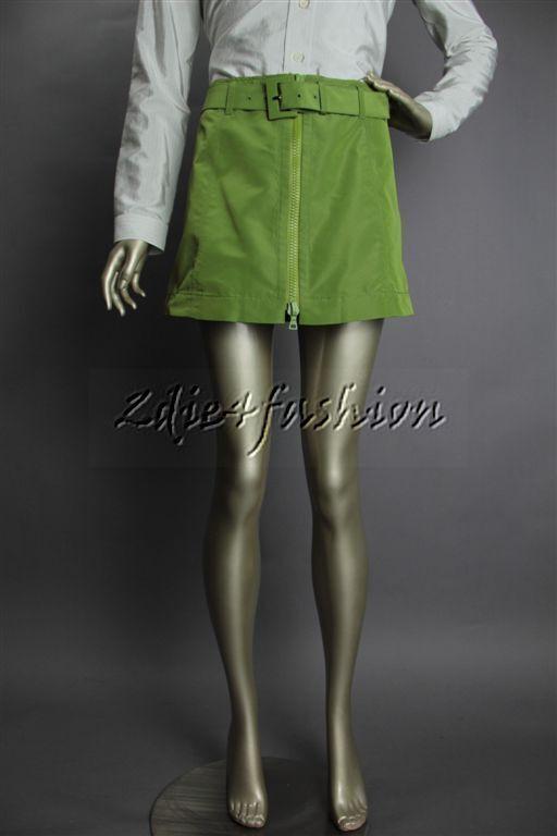 Nuevo Con Etiqueta  PRADA verde Faille Seda Grande Cremallera Correa Sexy Mini Falda 4 38  Obtén lo ultimo