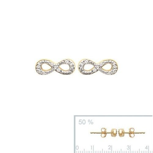 Boucles D'Oreilles INFINITY Symbol infini en Plaqué OR & Zirconium NEUF