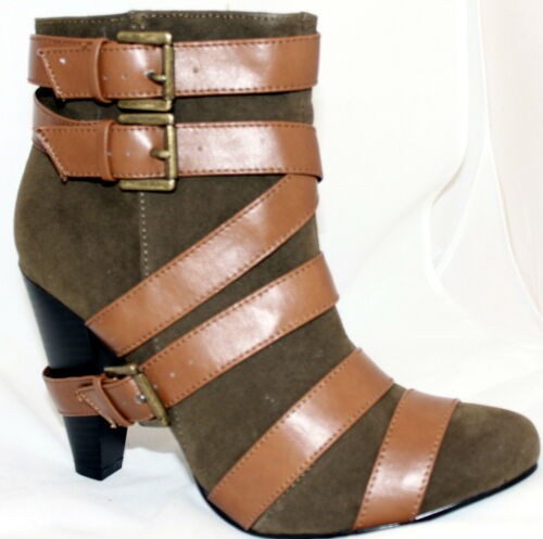 Strappy Buckles Stylish Ankle Boots Booties Olive and Tan Low Calf Women/'s Shoes