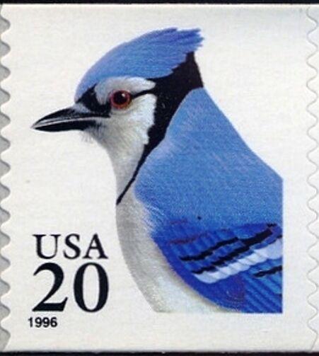1996 20c Blue Jay, self-adhesive, Coil Scott 3053 Mint