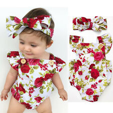 Newborn Baby Girl Clothes Flower Jumpsuit Romper Bodysuit  + Headband Outfits US