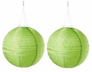 """New Ikea 2 pack Solvinden Green globe 12"""" Solar Powered led Light"""