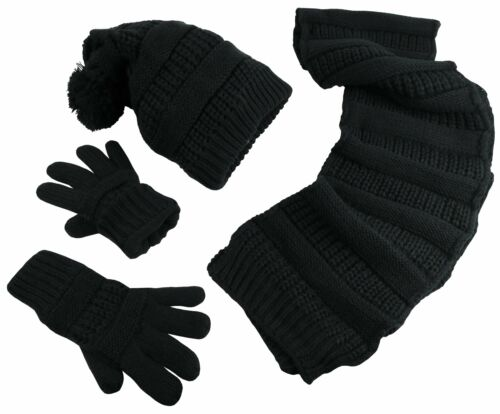 NICE CAPS Women/'s Solid Cable Knit Hat//Scarf//Gloves Accessory Set