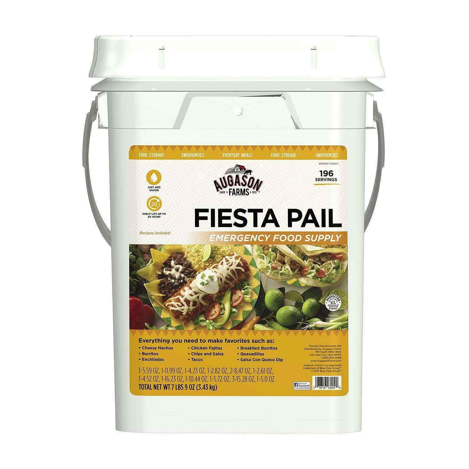 Augason Farms Fiesta Emergency  Food Supply Pail 4 gal. MREs & Freeze-Dried Food  fast shipping