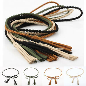Womens Casual Self-Tie Rope Elastic Lady Skinny Tassel Belt Decorated Waistband