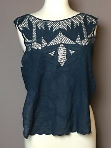 FREE PEOPLE Woman Cotton Top Shirt Midnight Blue Netting Open Sides Size L NWT