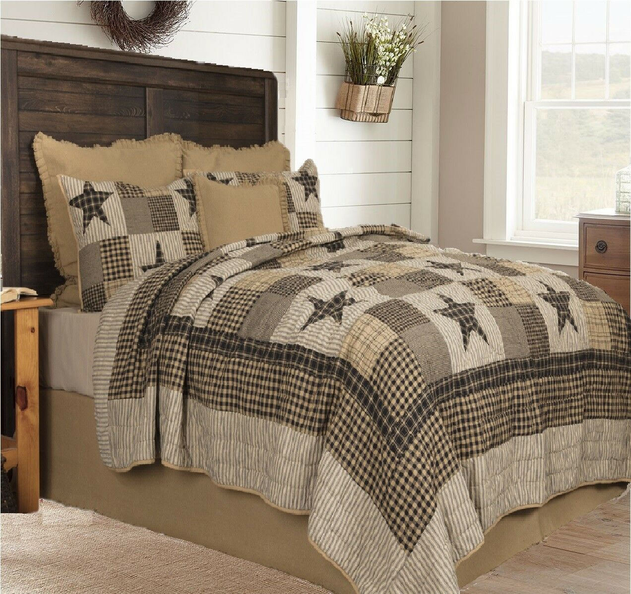 """Primitive 5 Piece QUEEN /""""COLONIAL STAR-BLACK/"""" Quilted Bedding SET ~ Country"""
