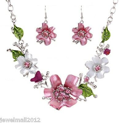 New White Gold Plated Oil Drip Rhinestone Flower Statement Bib Necklace Earrings