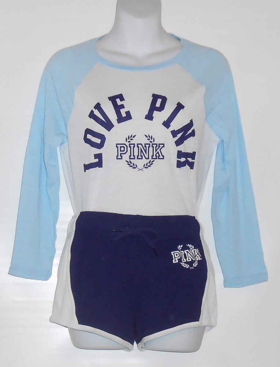 Victoria's Secret Rosa Baseball Tee & Varsity Shorts Weiß & Blau Small (S) NWT