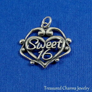 84e82f15c54a 925 Sterling Silver Sweet 16 Heart Charm - 16 16th Birthday Gift ...