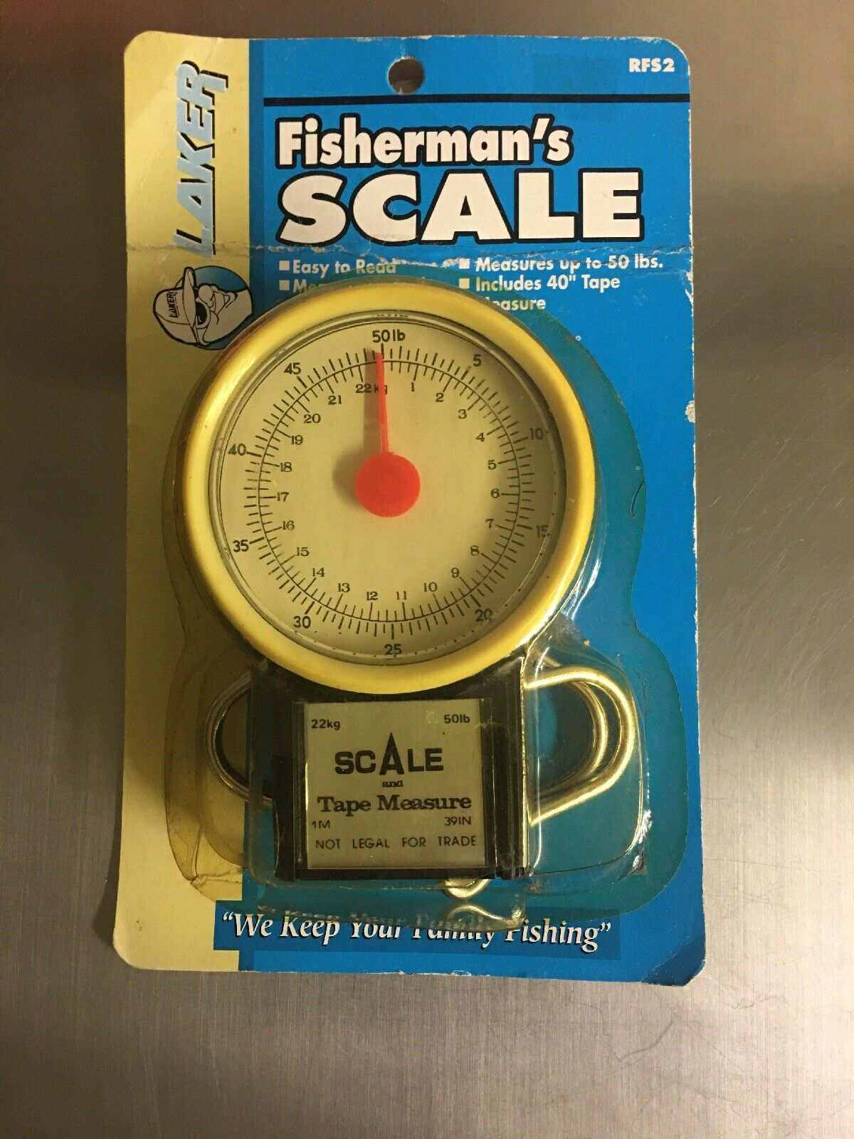 """Renegade Fisherman's Scale 50 Pound Scale /& 40"""" Tape Measure 2 in 1"""