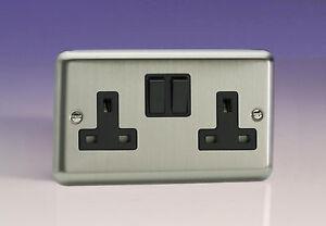 Varilight 2-Gang 13A Double Pole Switched Plug Socket Matt Chrome XS5B