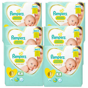 6x-23-138-Pampers-Premium-Protection-New-Baby-Groesse-1-Windeln-2-5-kg-Diapers