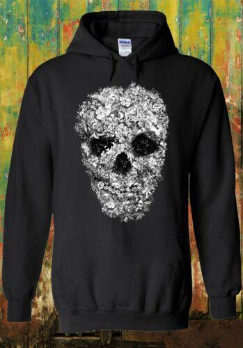 Skull Flower Retro Floral Vintage Men Women Unisex Top Sweatshirt Hoodie 315