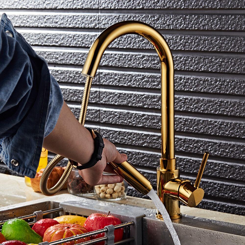 Gold Küchenarmatur Spültisch Armatur Wasserhahn Einhandmischer Mischbatterie NEU