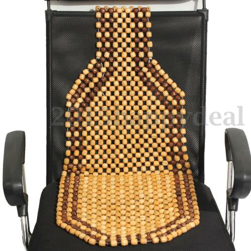 Brown Wooden Bead Beaded Massage Front Seat Cushion Cover Car Van Taxi Office UK