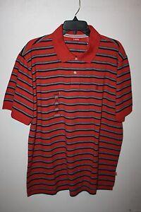NeW-MENS-Size-M-IZOD-100-COTTON-KNIT-POLO-Golf-Shirt-Orange-Striped-45-msrp