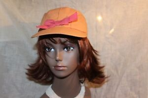 Vtg-LADY-30s-40s-PEACH-BALL-CAP-W-COLD-WEATHER-EAR-FLAPS-AND-BOW-6-7-8
