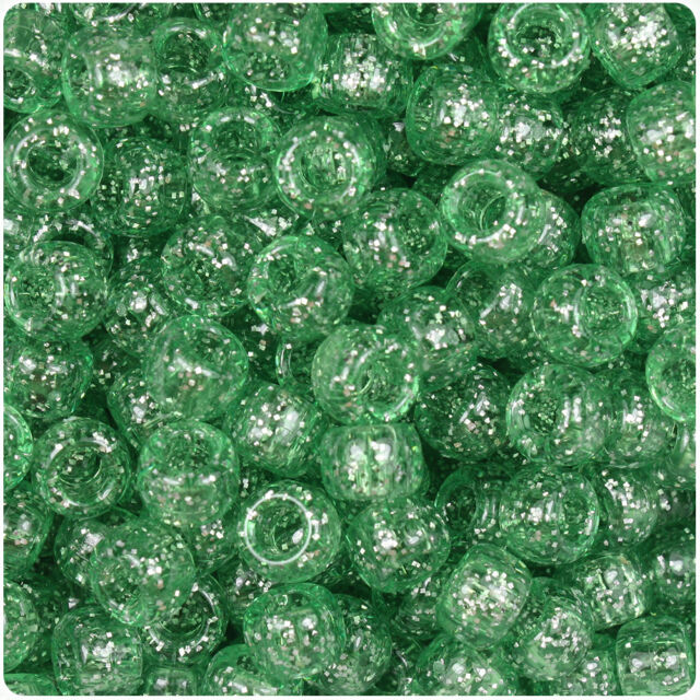500 Emerald Green Sparkle 9x6mm Barrel Pony Beads Made in the USA