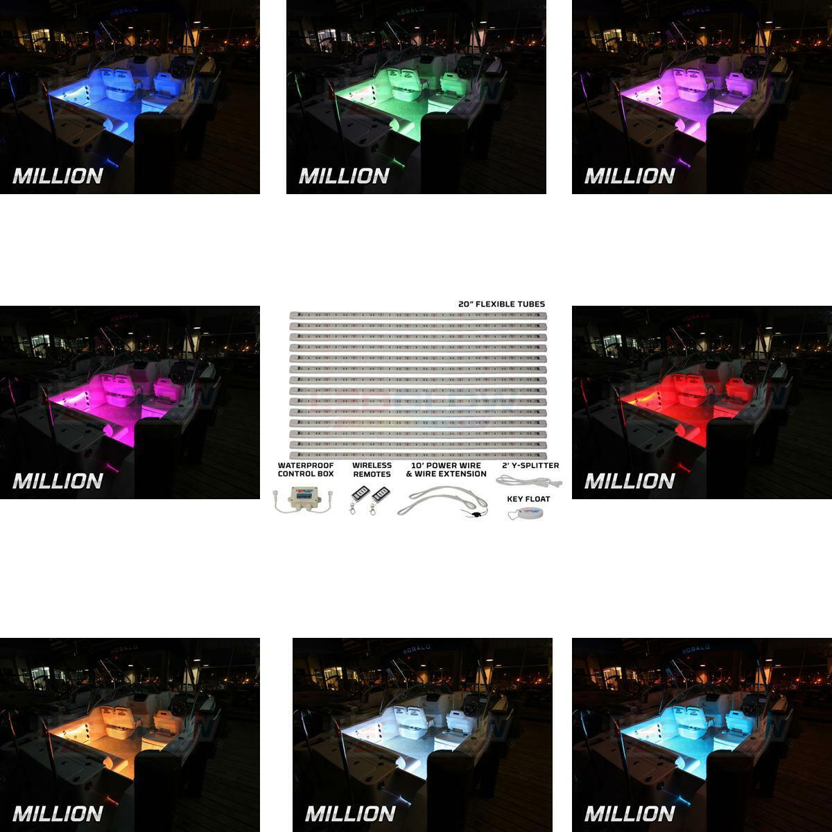 Million color Marine Boat LED Accent Lighting 14 Piece Kit LEDGlow LU-ML-M-14