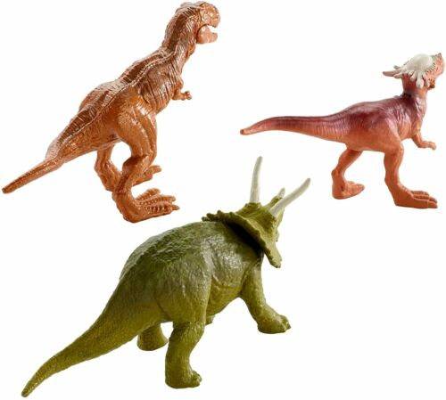 Jurassic World Mini Dino 3 Pack-Triceratops sygimoloch y metálico T-Rex