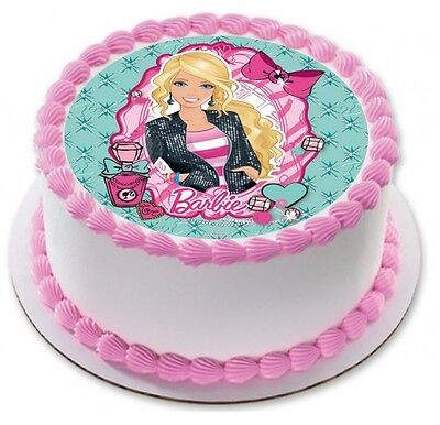 Incredible Barbie Edible Kids Birthday Party Cake Decoration Round Topper Personalised Birthday Cards Beptaeletsinfo