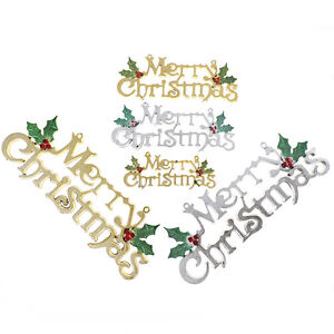 Merry Christmas Word Tree Hanging Ornaments Door Decorations Home