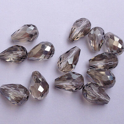 20pcs Faceted Teardrop glass crystal Charm Finding Loose Spacer beads 8x12mm,new