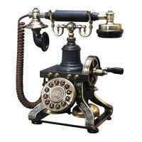 Black Vintage Telephone Retro Rotary Plate Old Phone Cord Antique Office Decor .