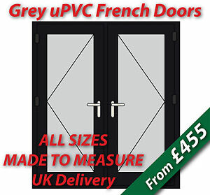 Grey upvc french doors made to measure chrome handles for Upvc french doors black