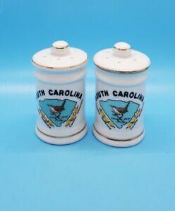 South Carolina Ceramic Salt And Pepper Shakers Gold Trim Souvenir Vintage
